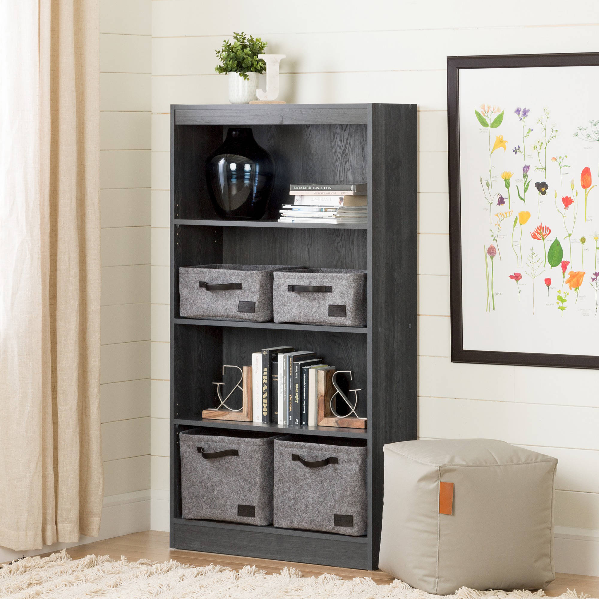 mainstays shelf astounding design of furniture size south ash shore walmart bookcase basics home full com black smart ebony photo axess collection