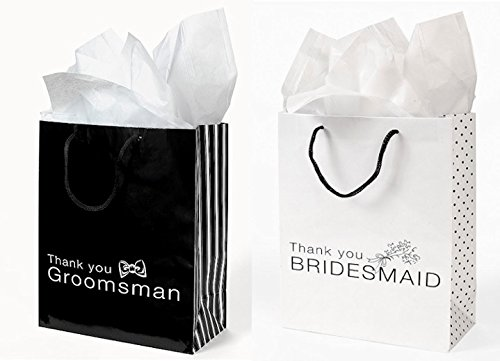 12 THANK YOU Gift Bags Groomsmen & Bridesmaid Black White Wedding