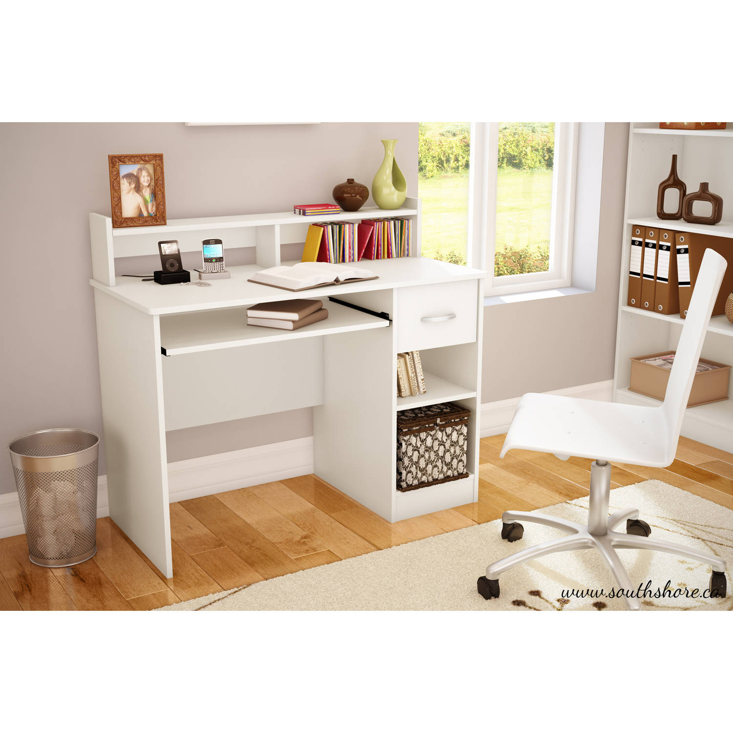 South shore smart basics small desk multiple finishes ebay for South shore artwork craft table with storage pure white