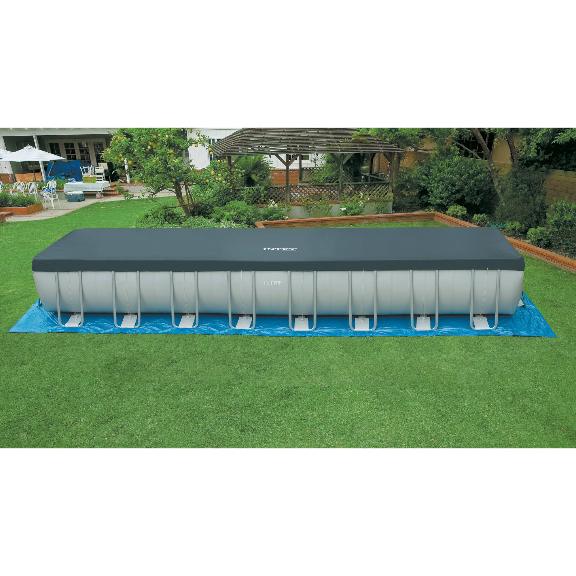 Intex 32 39 x 16 39 x 52 ultra frame rectangular above ground swimming pool with s for Intex rectangular swimming pool