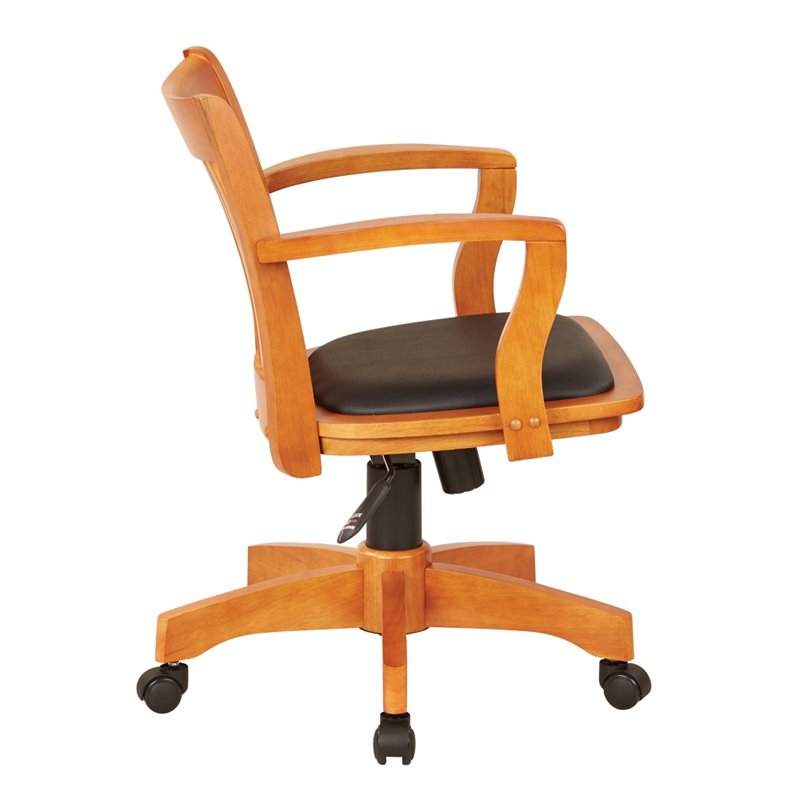 Office Star Products Deluxe Wood Banker S Chair With Arms