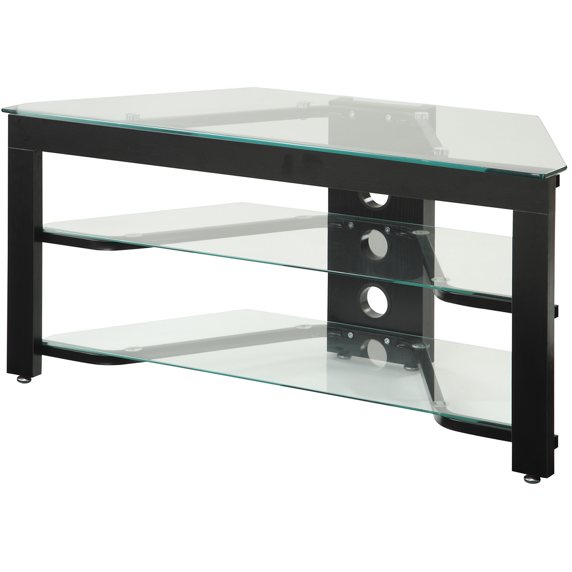 convenience concepts designs2go wood and glass tv stand for tvs up to 42 ebay. Black Bedroom Furniture Sets. Home Design Ideas