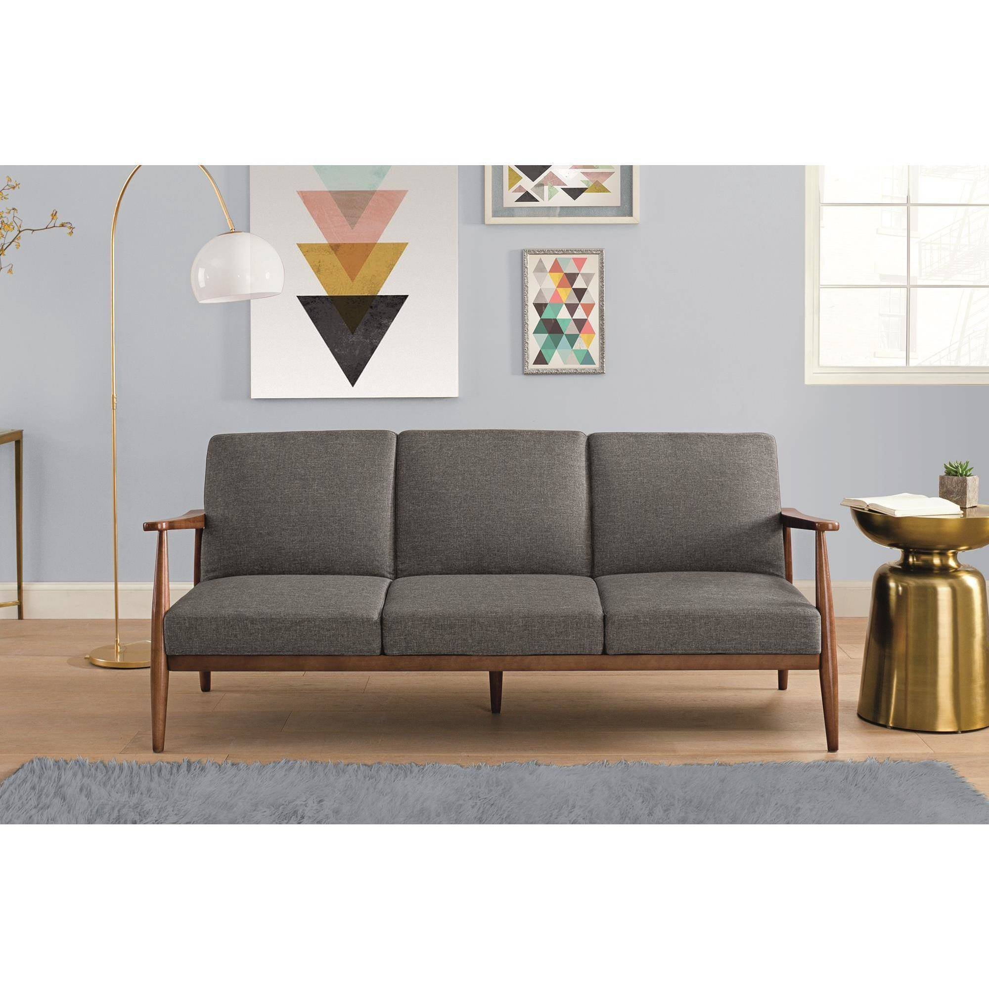 Better homes and gardens flynn mid century futon multiple colors ebay for Walmart better homes and gardens futon