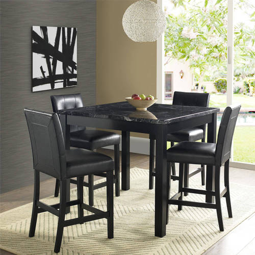 Dorel Living Andover 5Piece Faux Marble Counter Height Dining Set