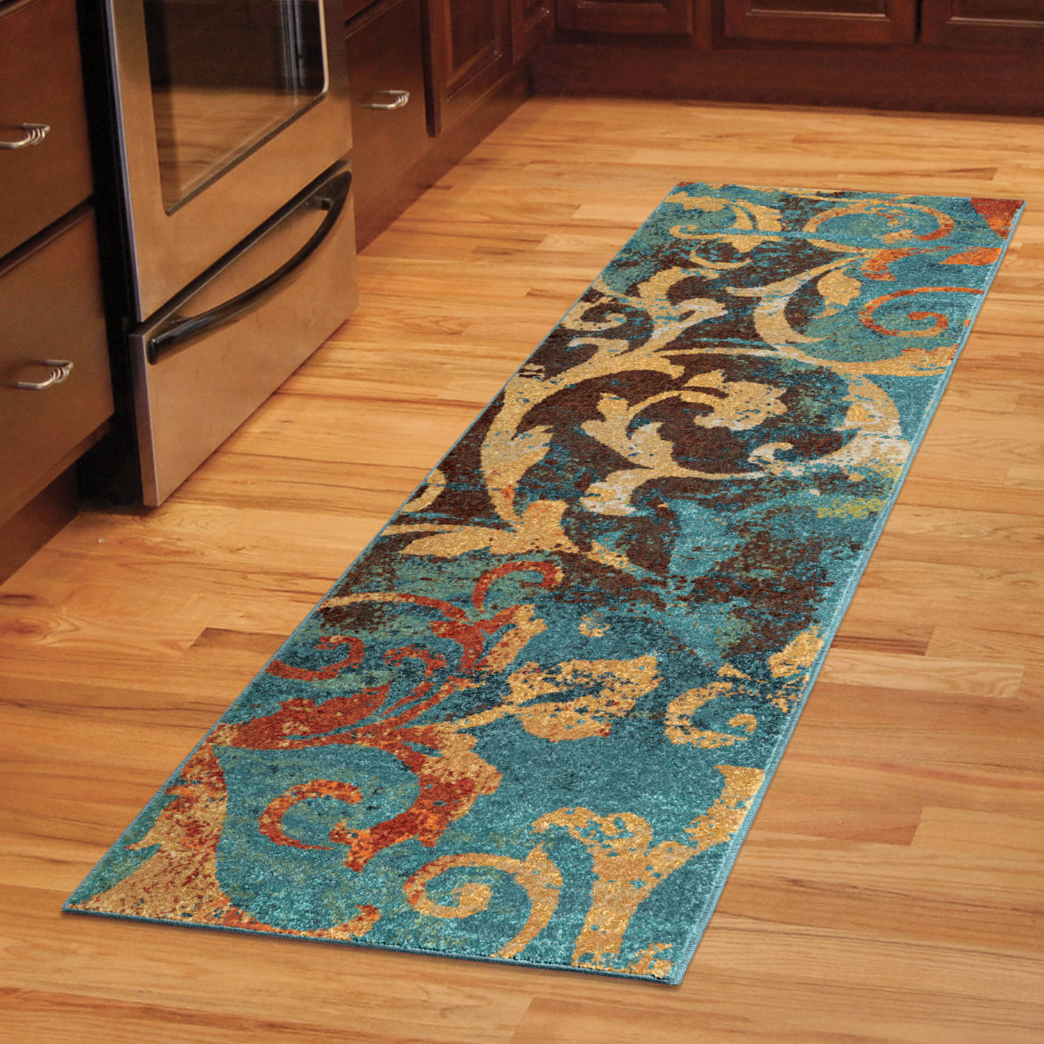 Rug Runner Rug: Orian Rugs Watercolor Scroll Multi-Colored Area Rug Or