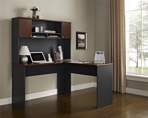 altra furniture the works hutch for l shaped desk cherry