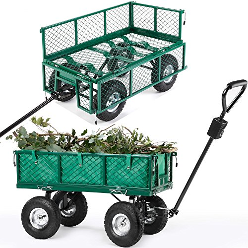 VonHaus All Terrain Heavy Duty Garden Cart   770lbs Load Capacity, Folding  Sides And 10 Inch Off Road Tires