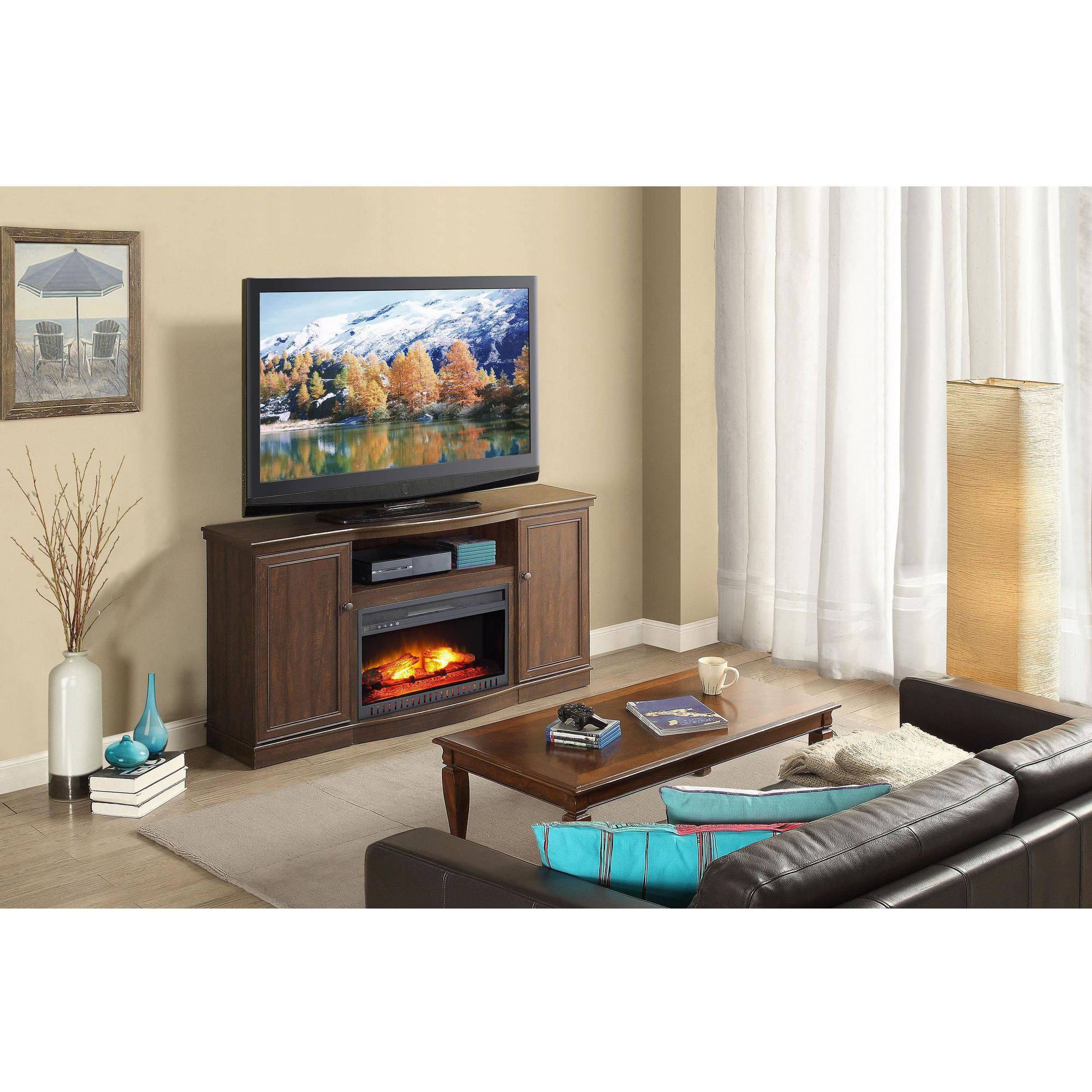 electric media fireplace furniture cabinet heater for tvs up to 65 inch brown ebay. Black Bedroom Furniture Sets. Home Design Ideas
