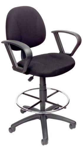 Boss Drafting Stool With Foot Ring And Loop Arms Black