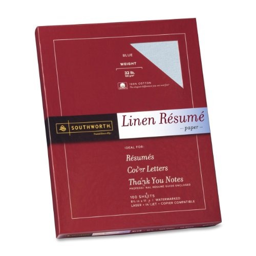 Southworth linen resume paper blue 32 pounds 100 for Blue resume paper