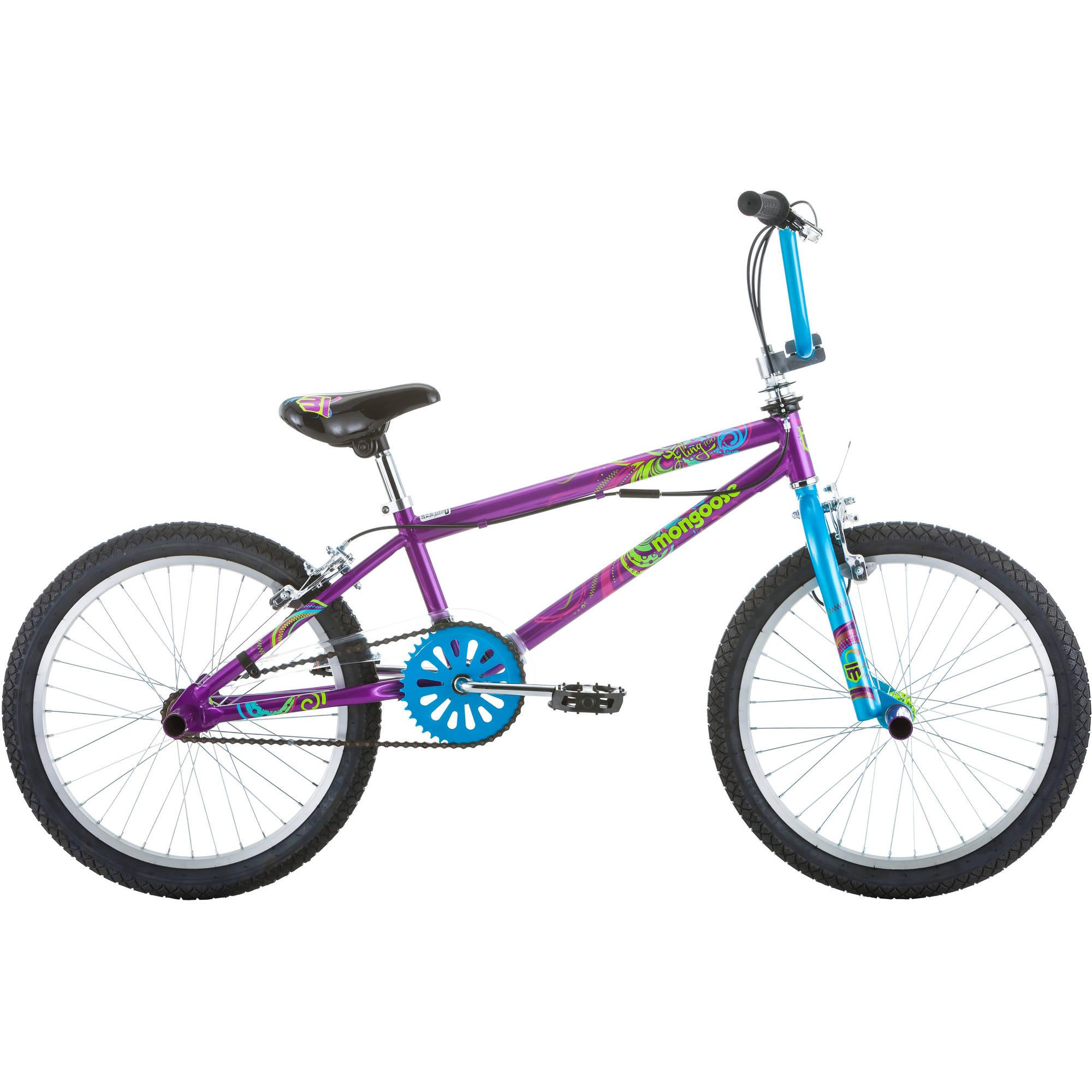 "20"" Mongoose Fling Girls' Freestyle Bike Purple