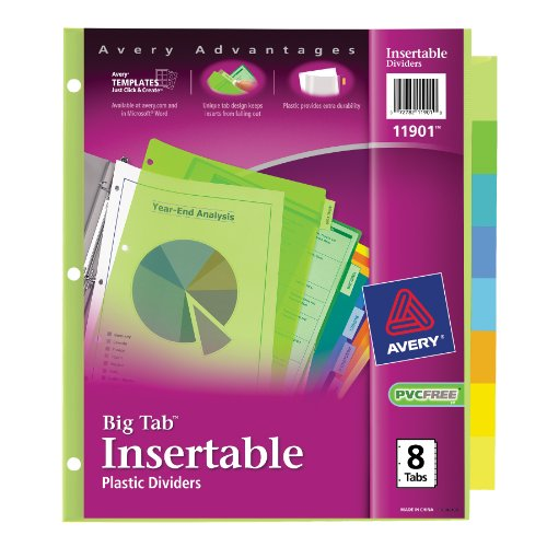 Avery big tab insertable plastic dividers 8 tabs 1 set for 8 large tab insertable dividers template