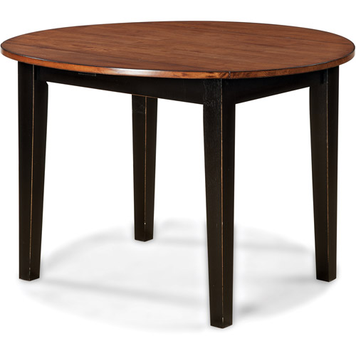 Imagio home drop leaf arlington dining table black and for Black dining table with leaf