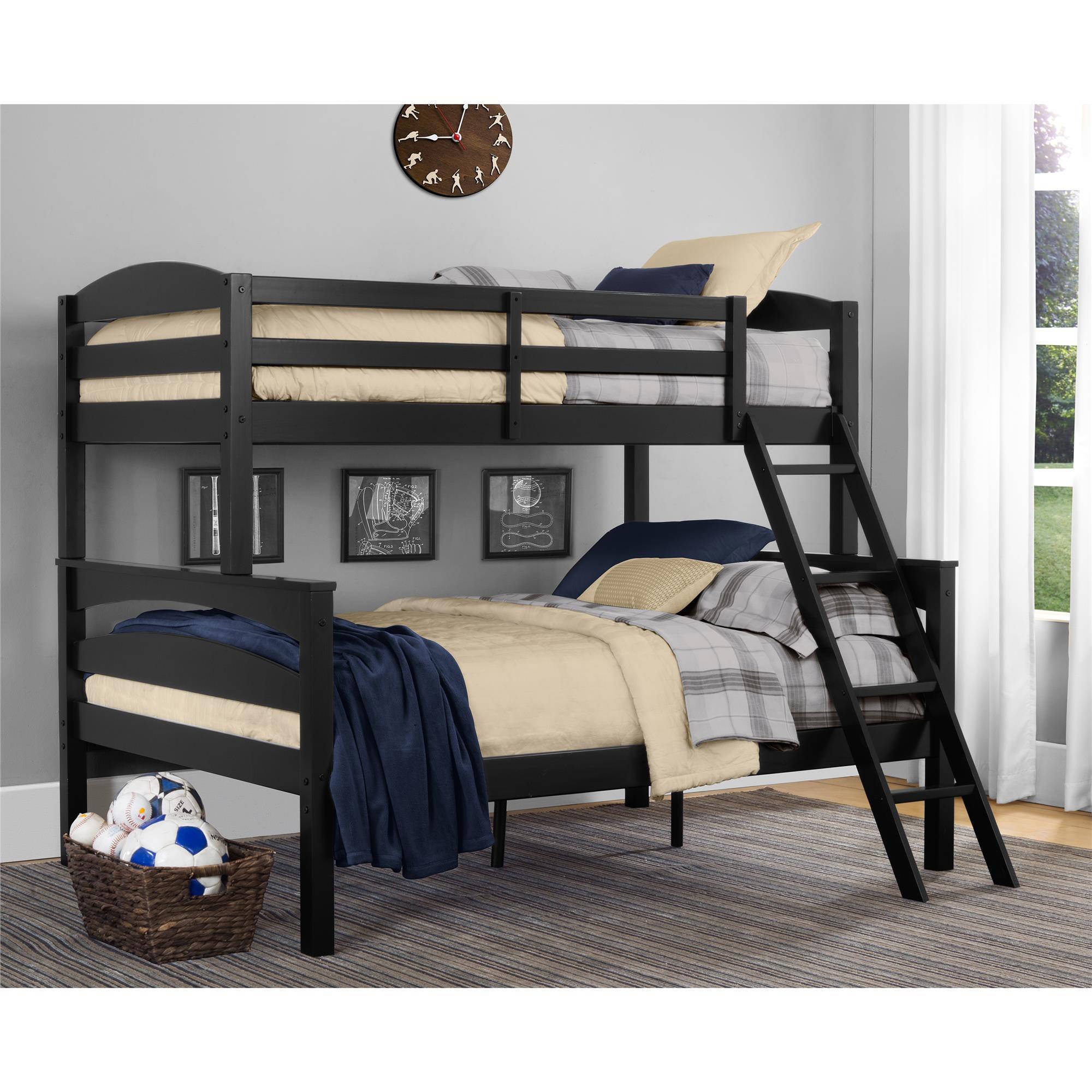 Dorel Living Brady Wood Twin Over Full Bunk Bed