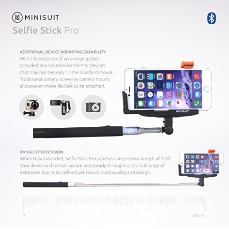 minisuit selfie stick pro with built in remote for apple androi. Black Bedroom Furniture Sets. Home Design Ideas