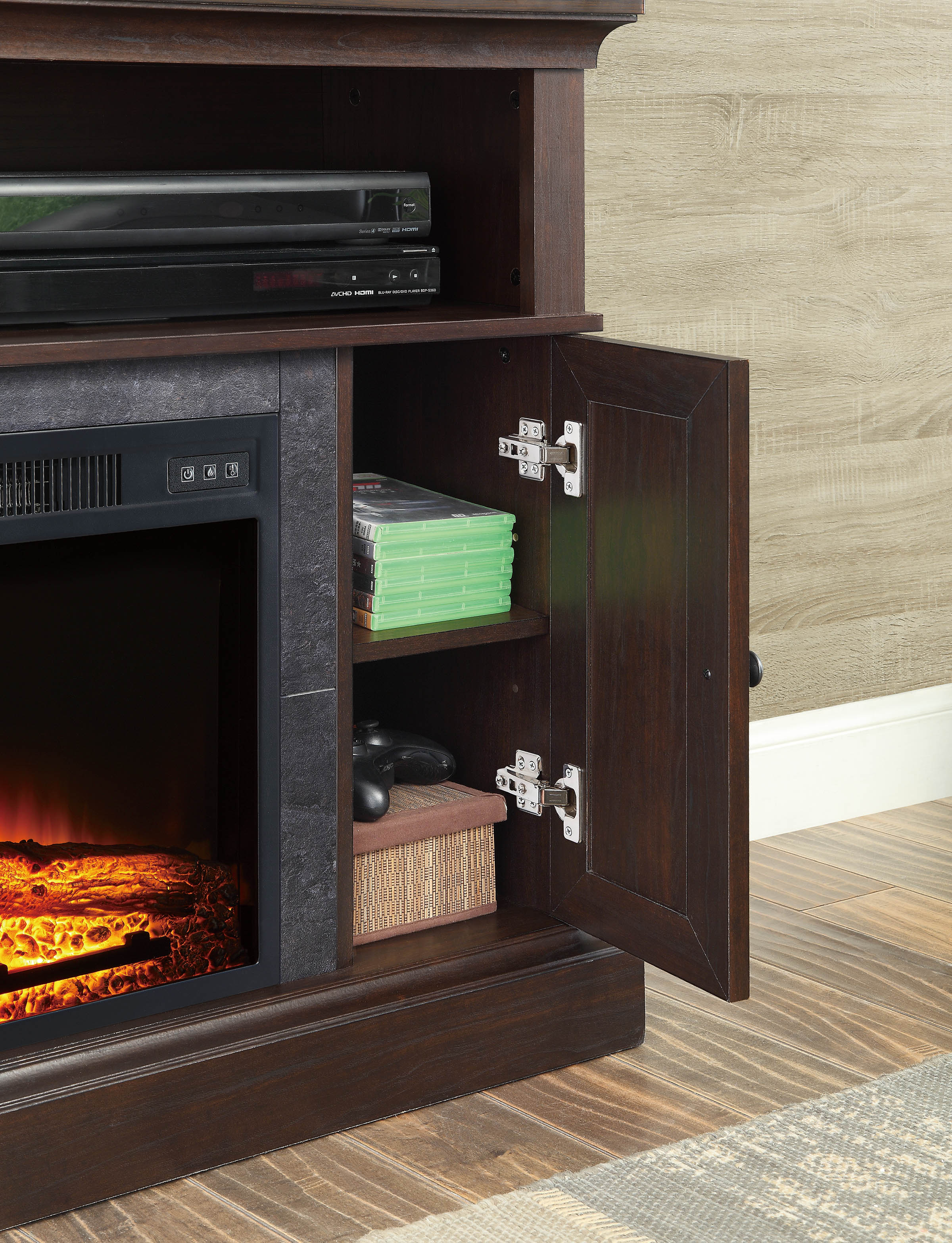 whalen media fireplace console for tvs up to 55 dark cherry ebay. Black Bedroom Furniture Sets. Home Design Ideas