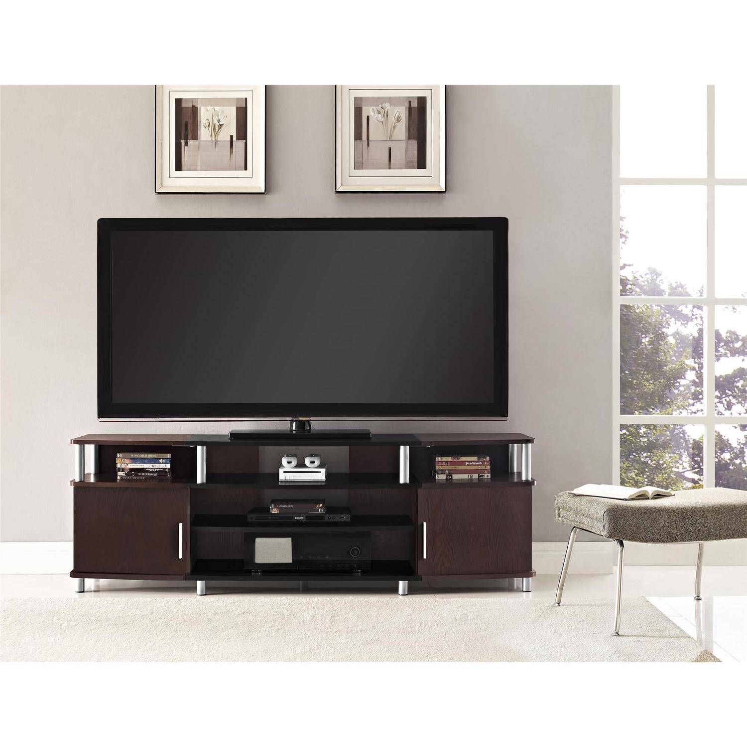 Ameriwood Home Carson Tv Stand For Tvs Up To 70 Wide Cherry Ebay
