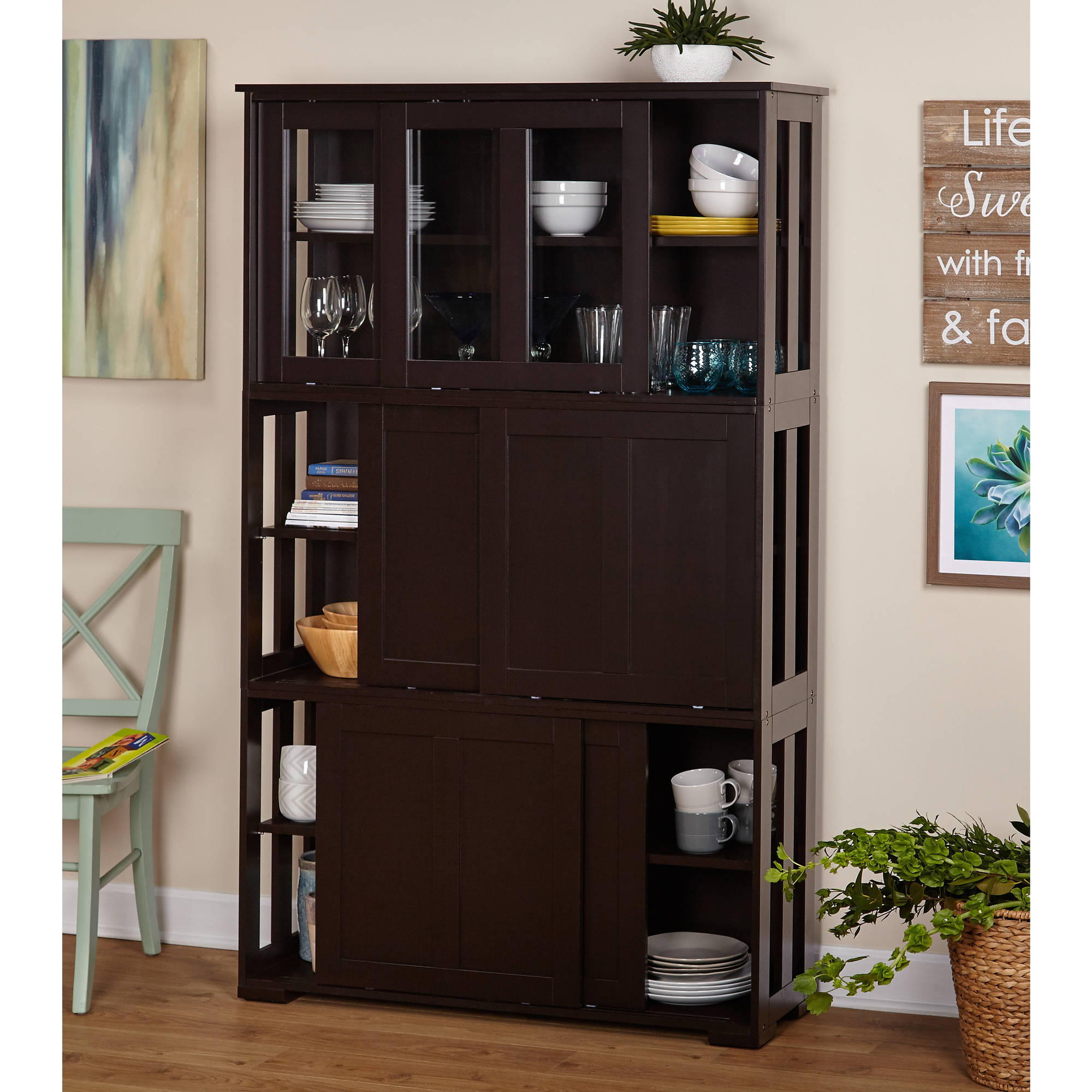 Sliding Wood Doors Stackable Storage Cabinet, Multiple Colors | eBay
