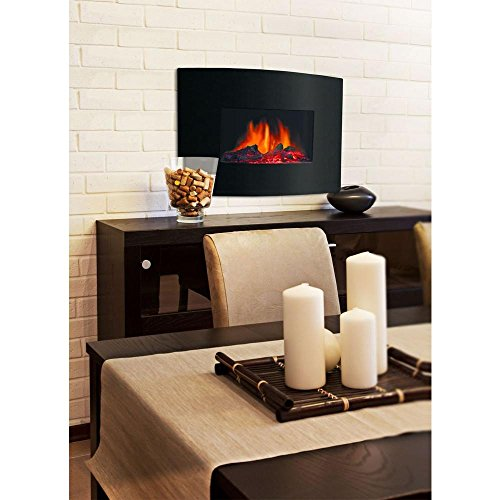 Decor flame 24 electric wall mount fireplace heater w remo for 24 wall mount electric fireplace
