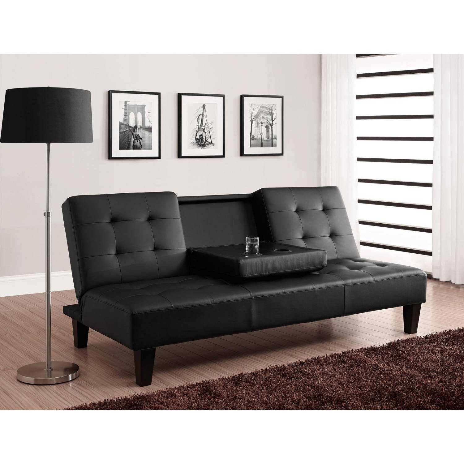 Julia Cupholder Convertible Futon Multiple Colors