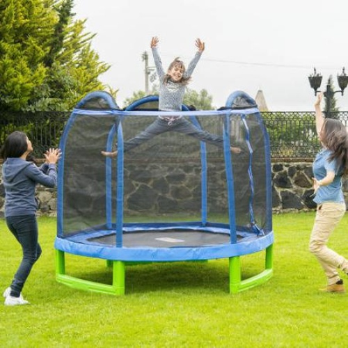 New 14ft Trampoline Combo Bounce Jump Safety Enclosure Net: Bounce Pro 7' My First Trampoline 687064055292