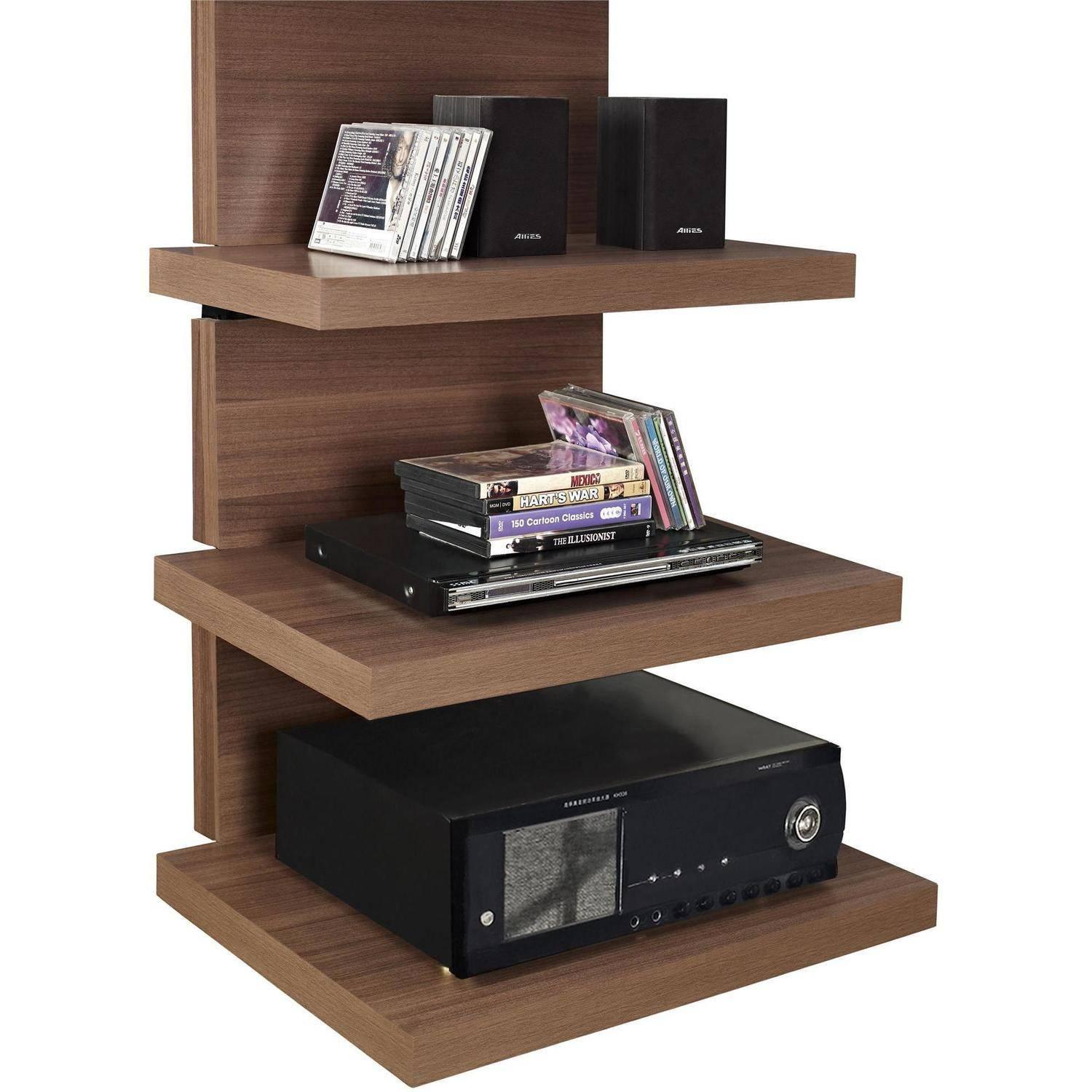 altra wall mount tv stand with 3 shelves for tvs up to 60 ebay. Black Bedroom Furniture Sets. Home Design Ideas