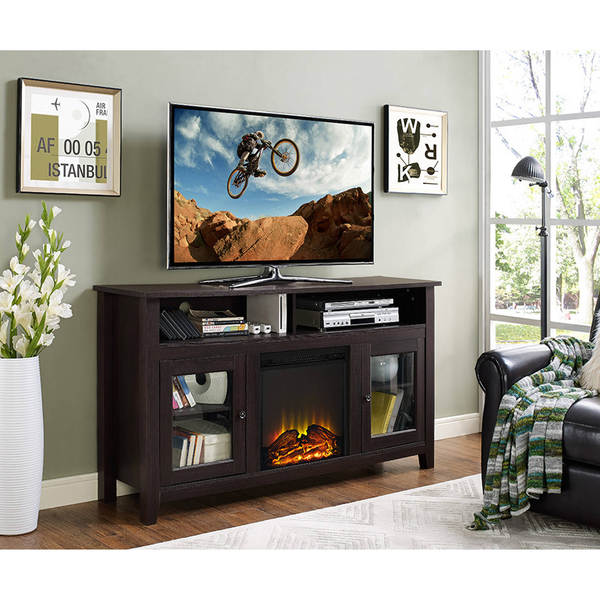 white in stand p tv cherry home antique finish shore fireplace stands and decorators medium electric collection inch montauk