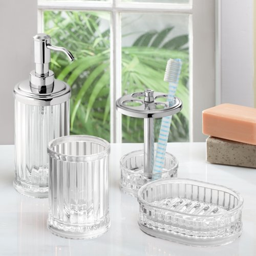 Interdesign alston bath accessories set clear for Clear bathroom accessories