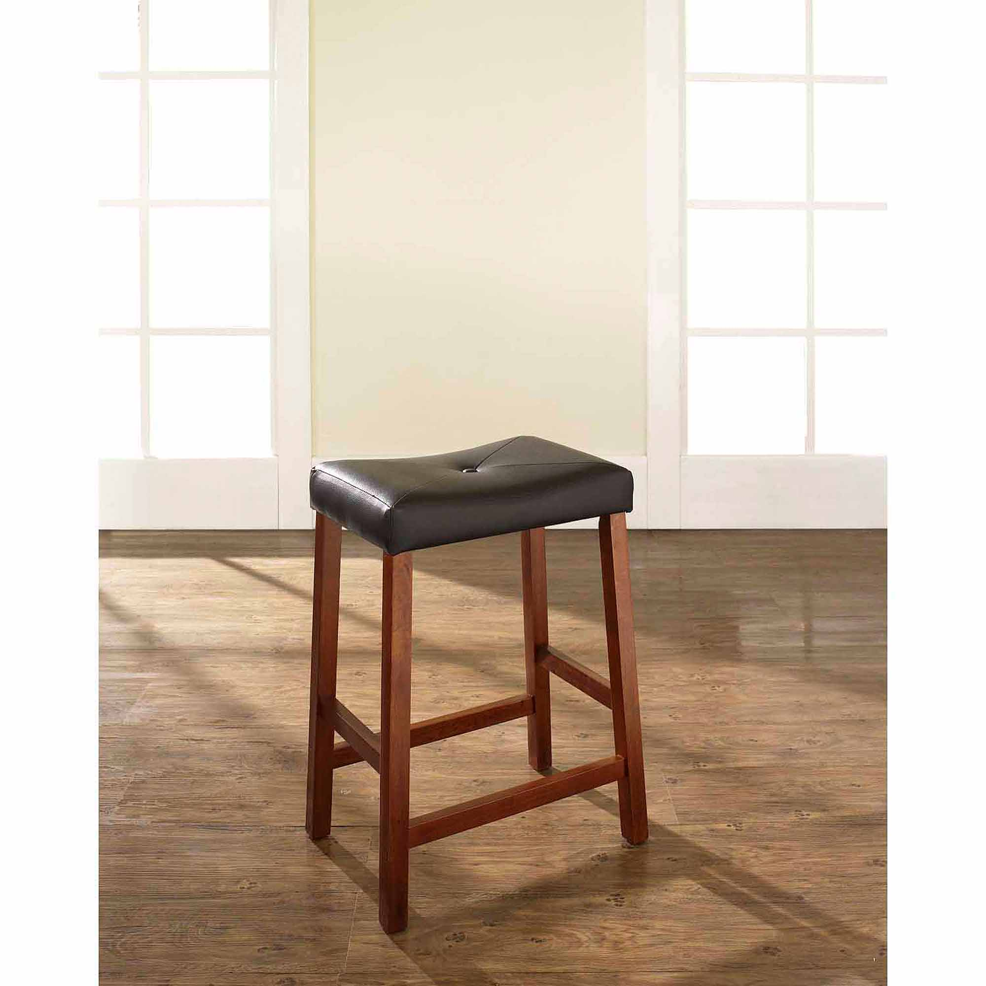 Crosley Furniture Upholstered Saddle Seat Bar Stool With