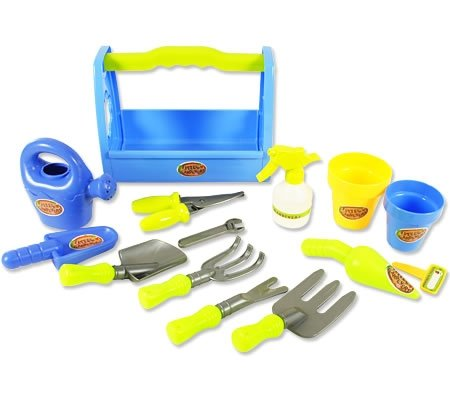 Little garden tool box 14pc toy gardening tools set for kids for Different tools and equipment in horticulture