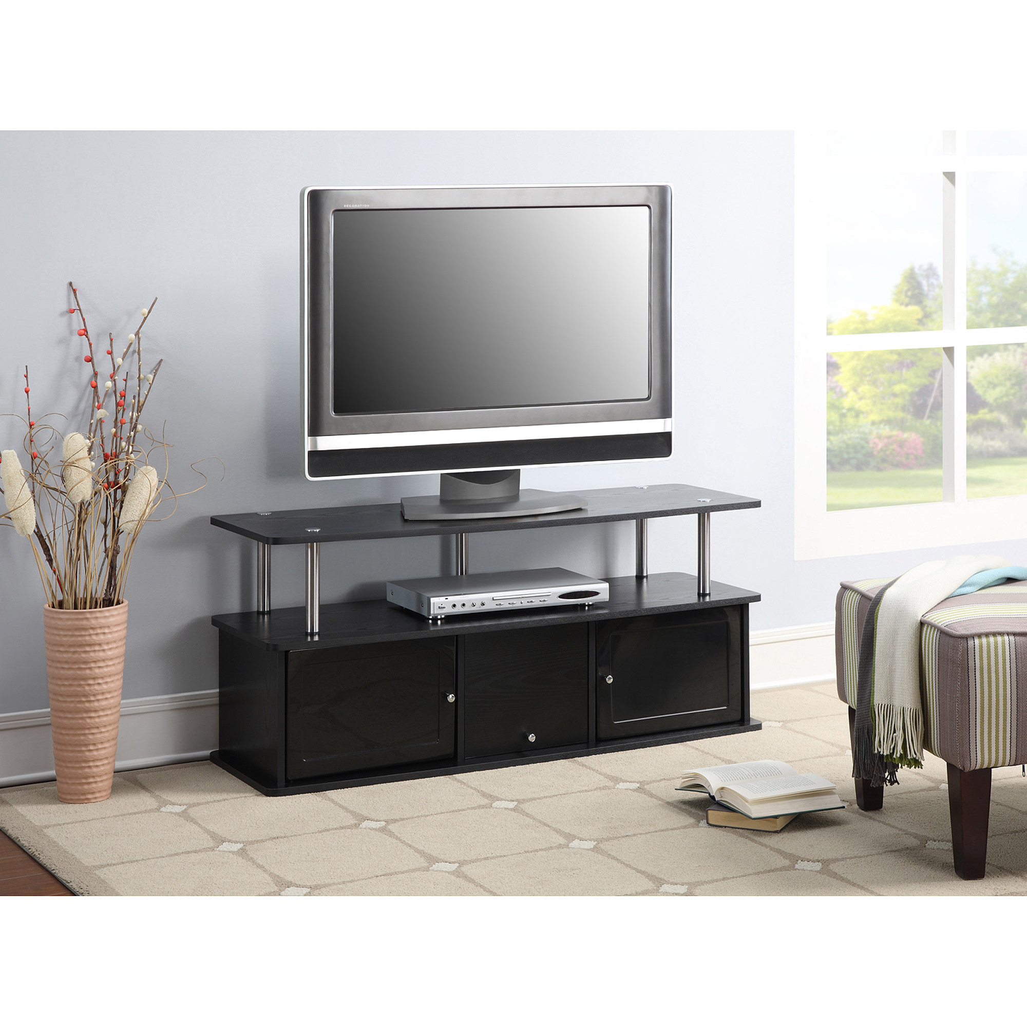 Convenience concepts designs2go cherry tv stand with 3 for Tv furniture