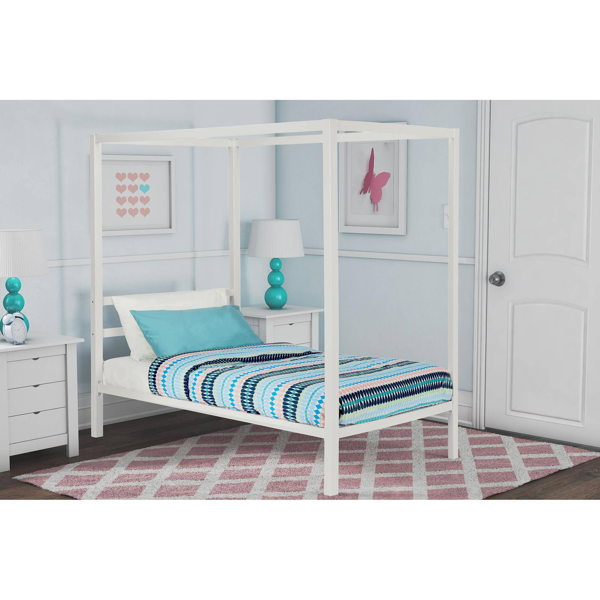 dhp modern metal twin canopy bed in white  ebay - image is loading dhpmodernmetaltwincanopybedinwhite