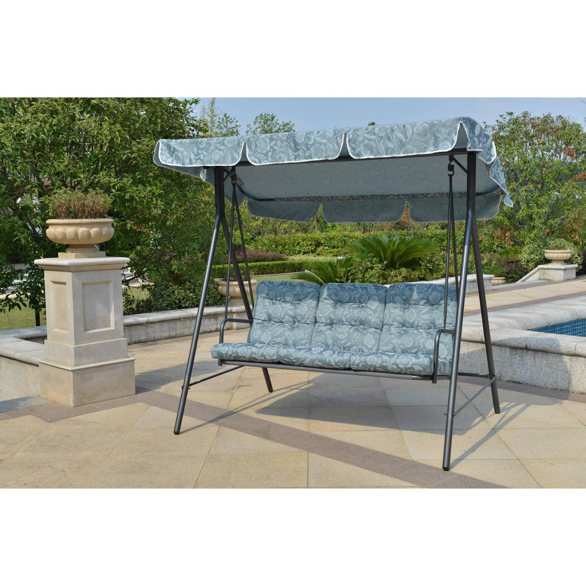 Mainstays Willow Springs Outdoor Swing Blue Seats 3 Ebay
