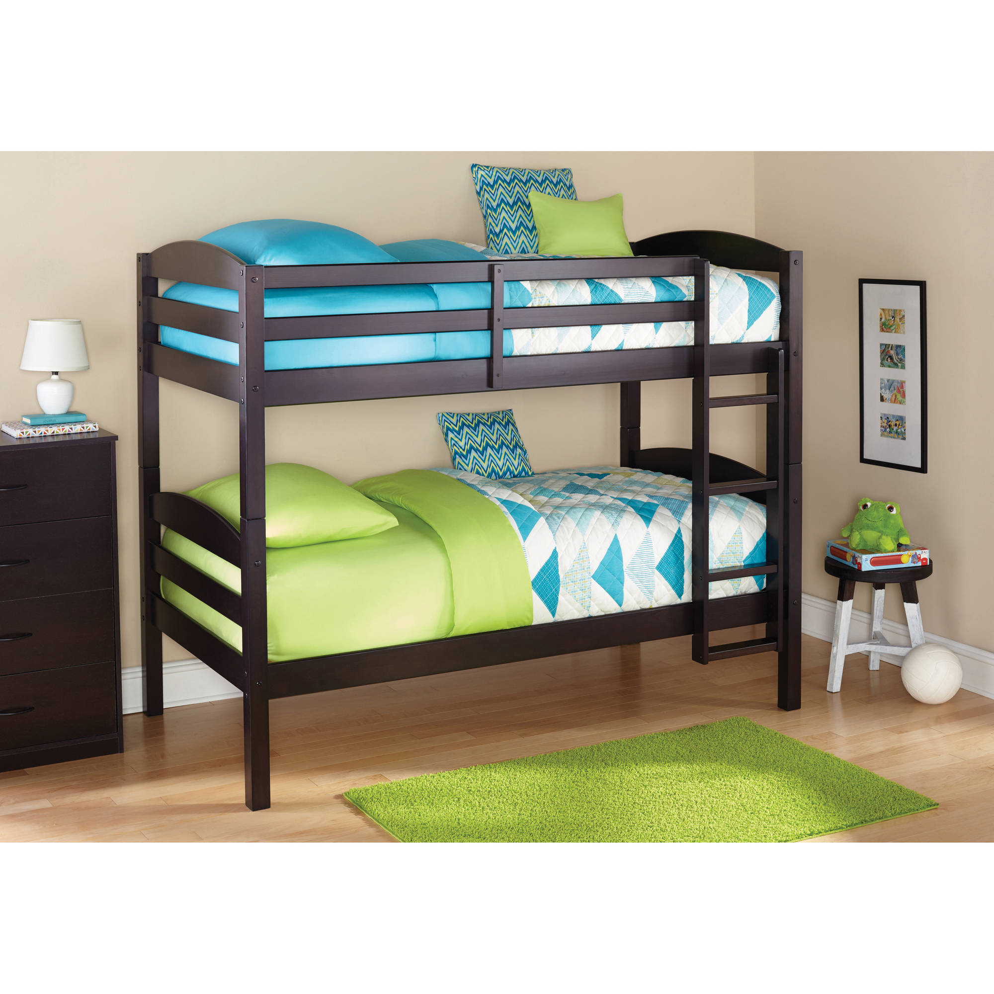 Bunk Beds Twin Over Twin Kids Furniture Bedroom Ladder ...