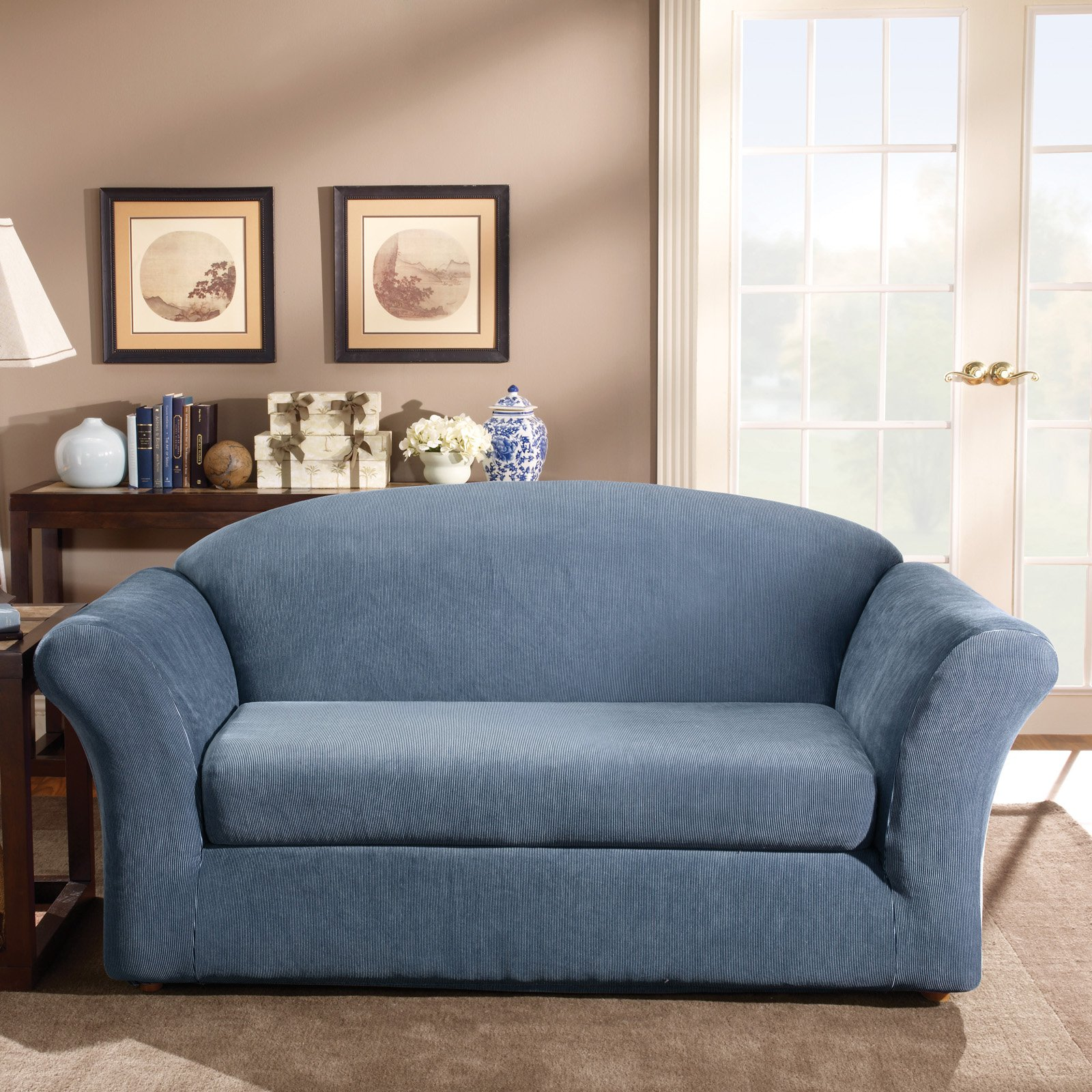 Slipcover Sofa Set: Sure Fit Stretch Stripe Sofa Slipcover