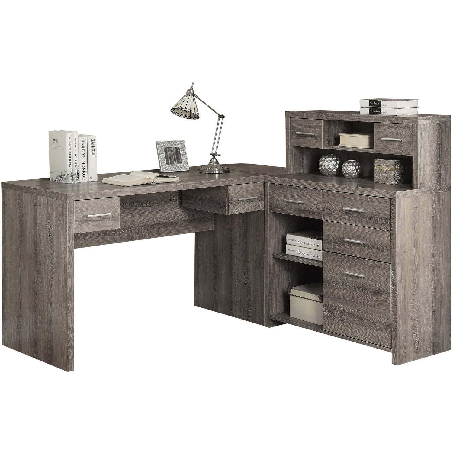 Monarch Hollow Core L Shaped Home Office Desk