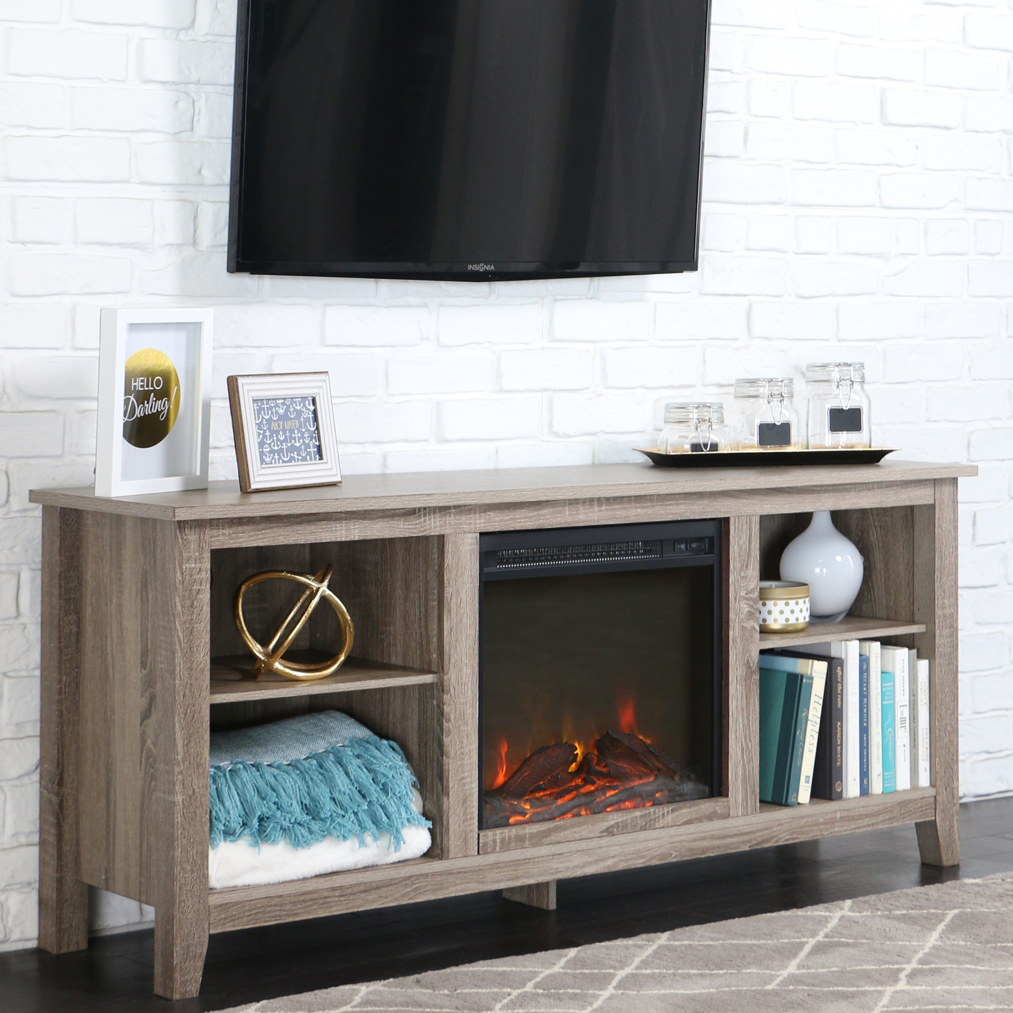 Whitewash Wood Fireplace Tv Stand For Tvs Up To 60 Quot Ebay