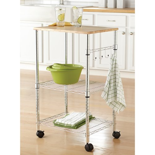 Commercial Kitchen Cart Cutting Professional Table: 3 Tier Portable Rolling Kitchen Island Cart Cutting Board