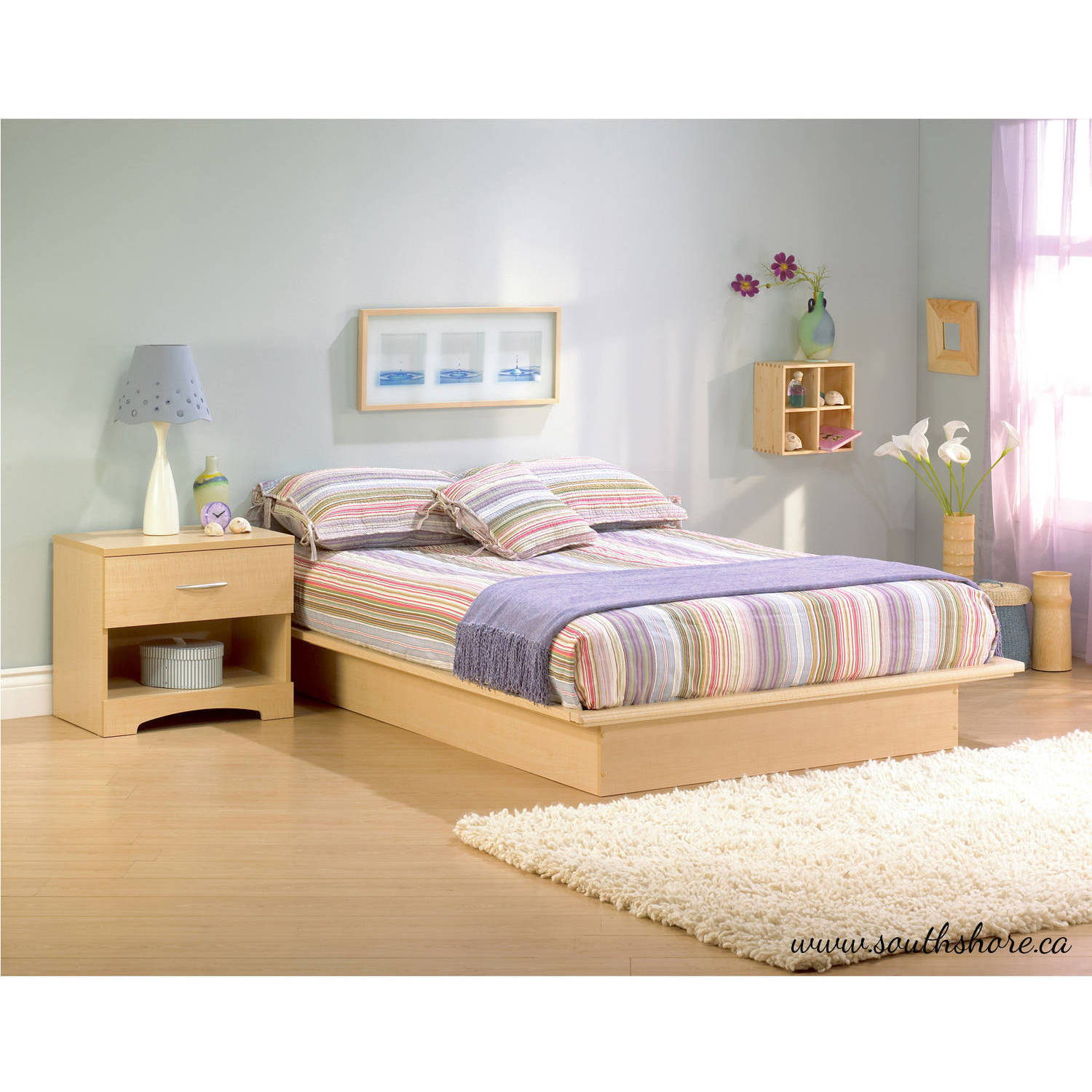 South Shore Basics Queen Platform Bed with Molding, 60 ...
