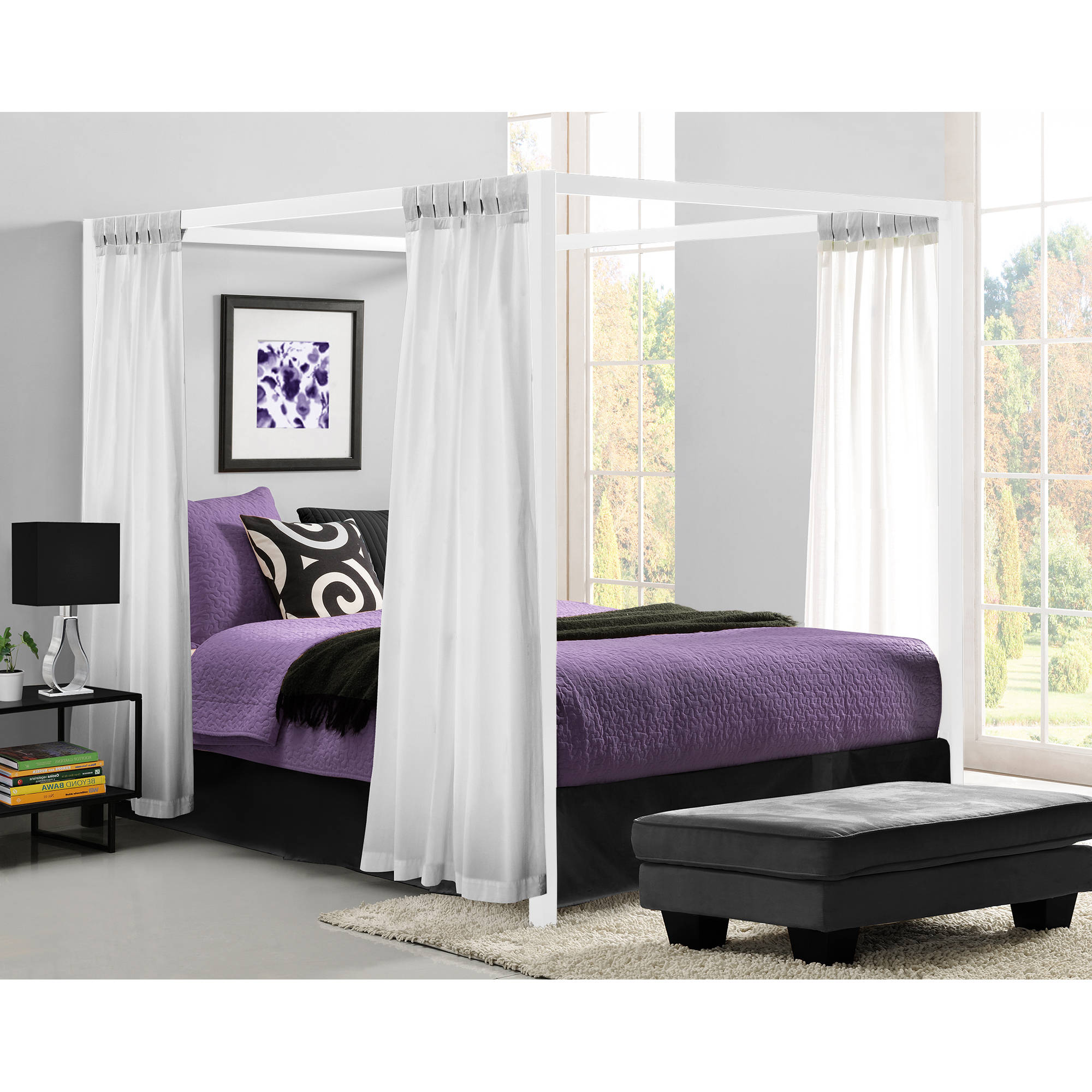 Queen Canopy Bed: Modern Canopy Queen Metal Bed White Platform Bed Frame No