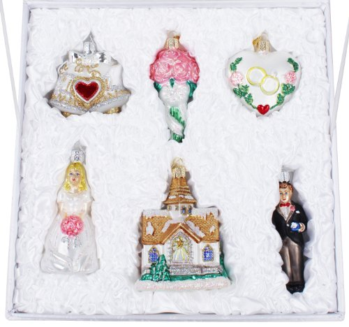 Old world christmas wedding collection ornament box set