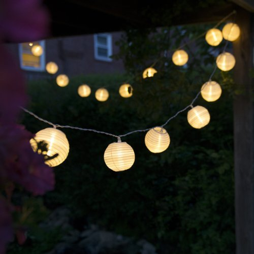 10 Warm White Chinese Nylon Lantern String Lights 10.86ft Long   Mini  Oriental Round Globes Indoor.