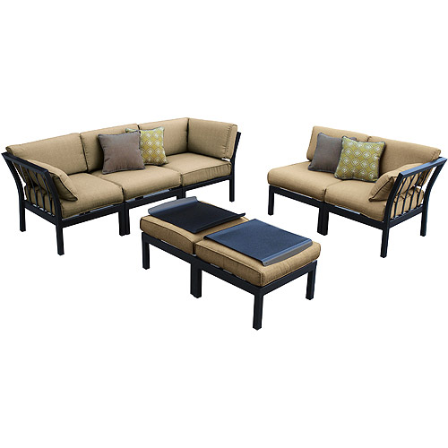 Ragan meadow 7 piece outdoor sectional sofa set seats 5 for 7 piece sectional sofas