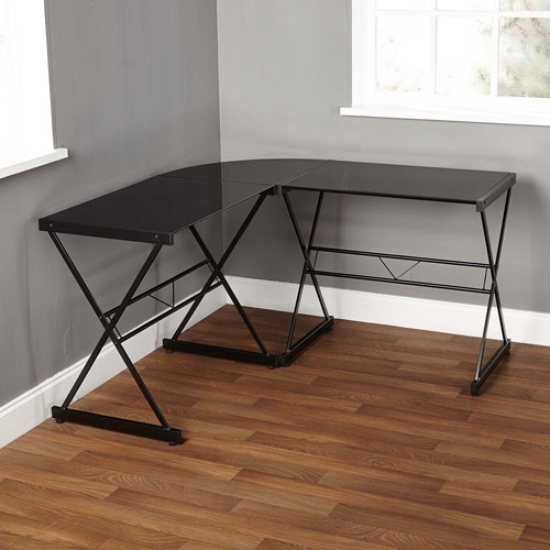 Atrium Metal And Glass L Shaped Computer Desk