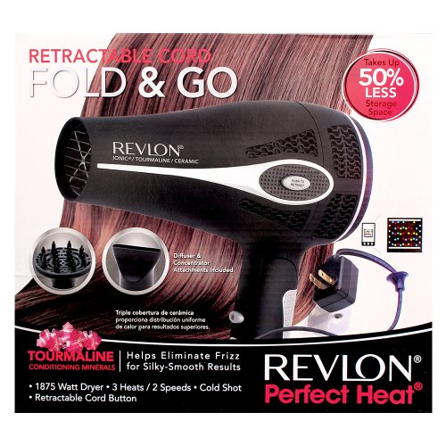 revlon 1875w rectractable cord fold go hair dryer. Black Bedroom Furniture Sets. Home Design Ideas