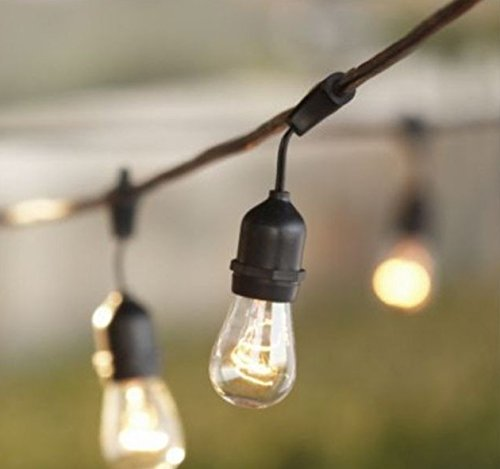 Outdoor String Lights with 15 E26 Sockets By Deneve - 48 Feet Lon