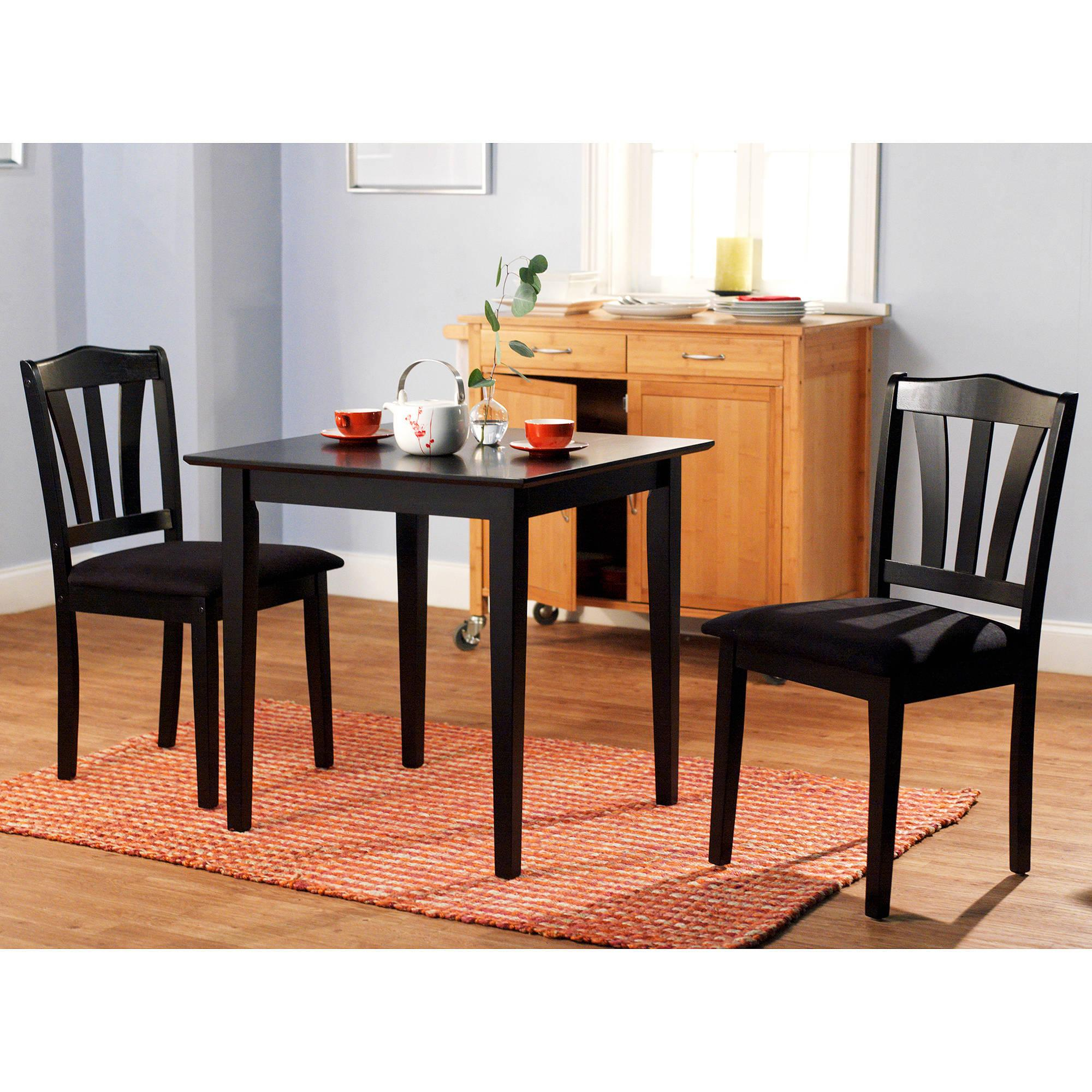 3 piece dining set table 2 chairs kitchen room wood for Kitchen dining sets