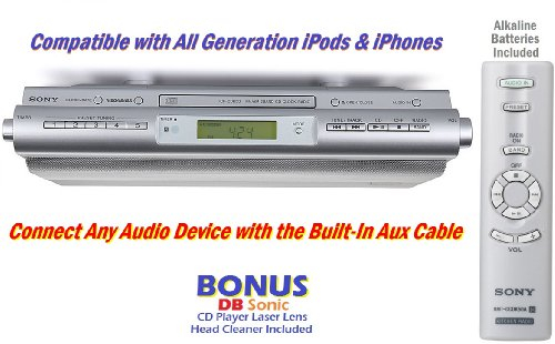 sony under the cabinet space saving stereo sound system Kitchen Under Cabinet Radio Under Cabinet Stereo System
