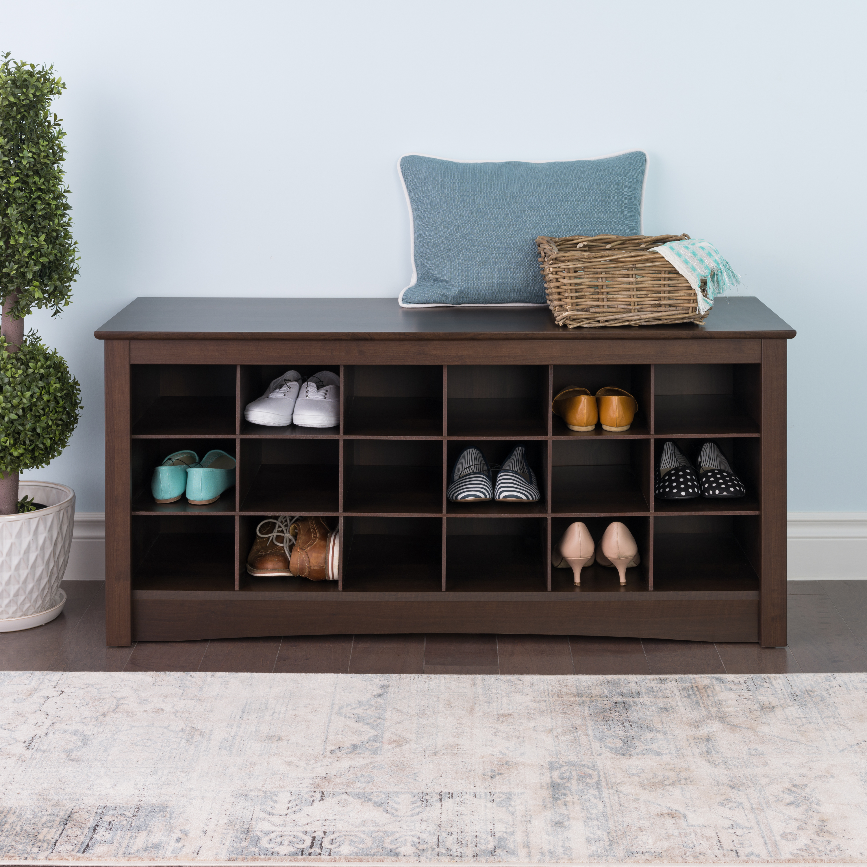 Beau Prepac Shoe Storage Cubbie Entryway Bench