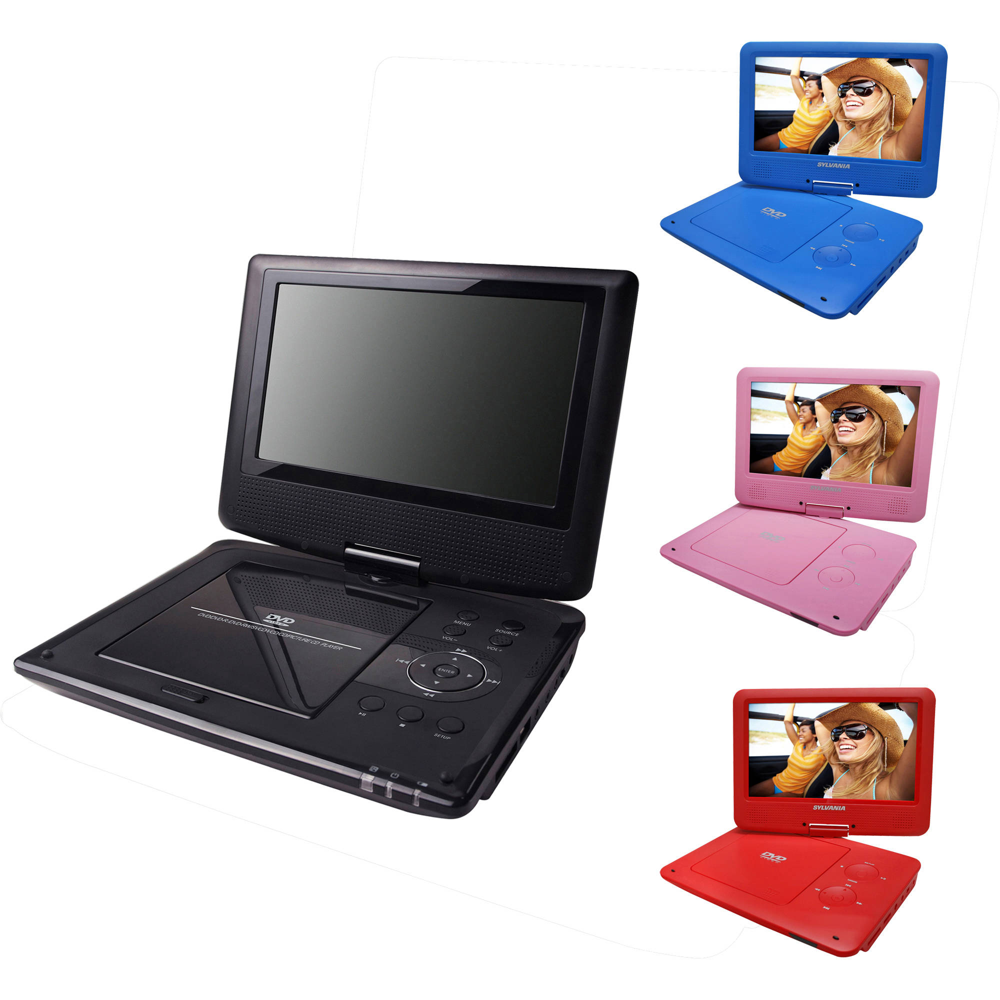 sylvania 9 portable dvd player w swivel screen 5hr. Black Bedroom Furniture Sets. Home Design Ideas